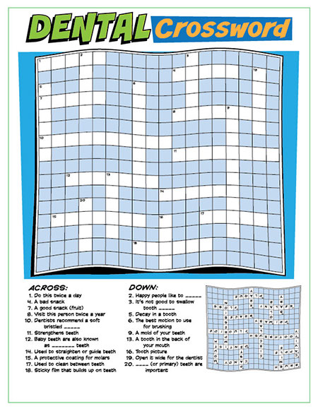 Dental Crossword Puzzle Activity Sheet - Pediatric Dentist in Lake Jackson, TX