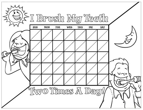 Black and White Brushing Chart for Children - Pediatric Dentist in Lake Jackson, TX