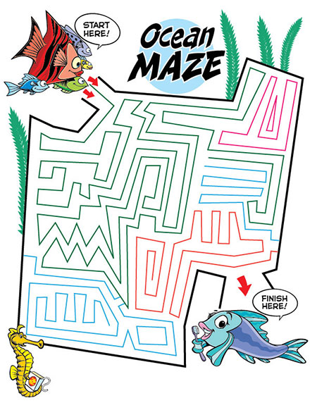Ocean Maze Activity Sheet - Pediatric Dentist in Lake Jackson, TX