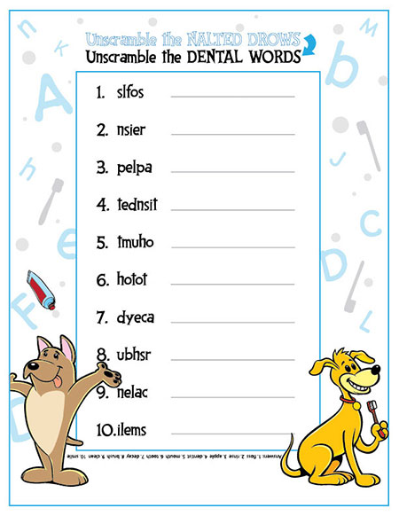 Unscramble the Dental Words Activity Sheet - Pediatric Dentist in Lake Jackson, TX