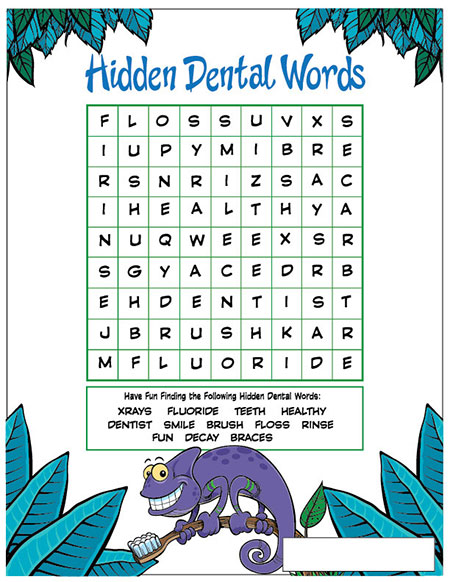 Hidden Dental Words Activity Sheet - Pediatric Dentist in Lake Jackson, TX